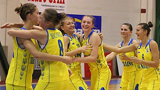 Ukraine celebrate their victory over Lithuania